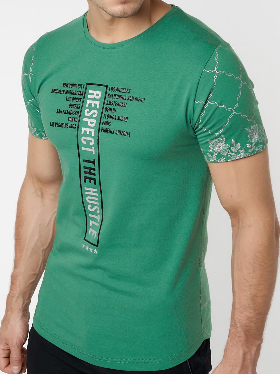 Купить оптом Подростковая футболка зеленого цвета 220072Z в Екатеринбурге