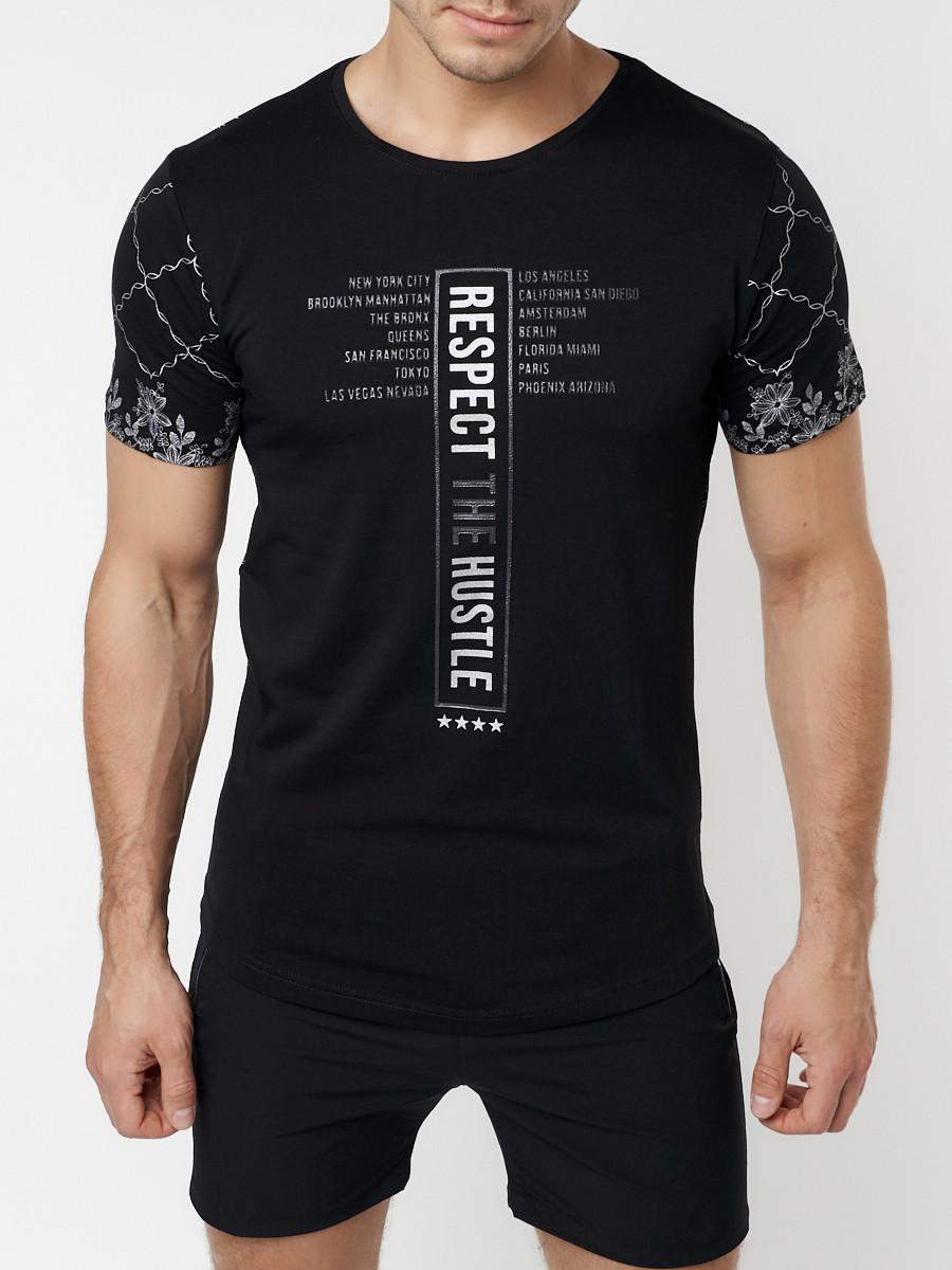 Купить оптом Подростковая футболка черного цвета 220072Ch