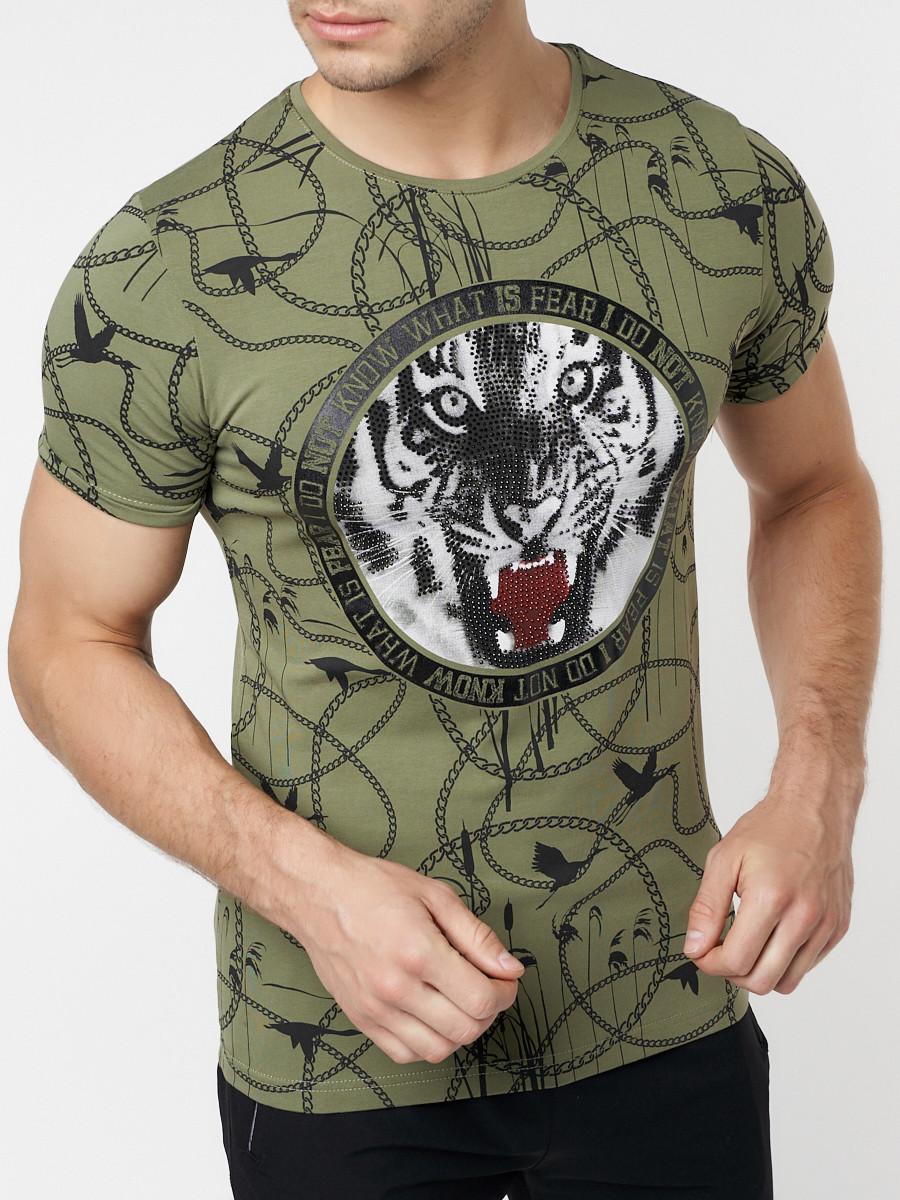 Купить оптом Подростковая футболка хаки цвета 220081Kh в Екатеринбурге