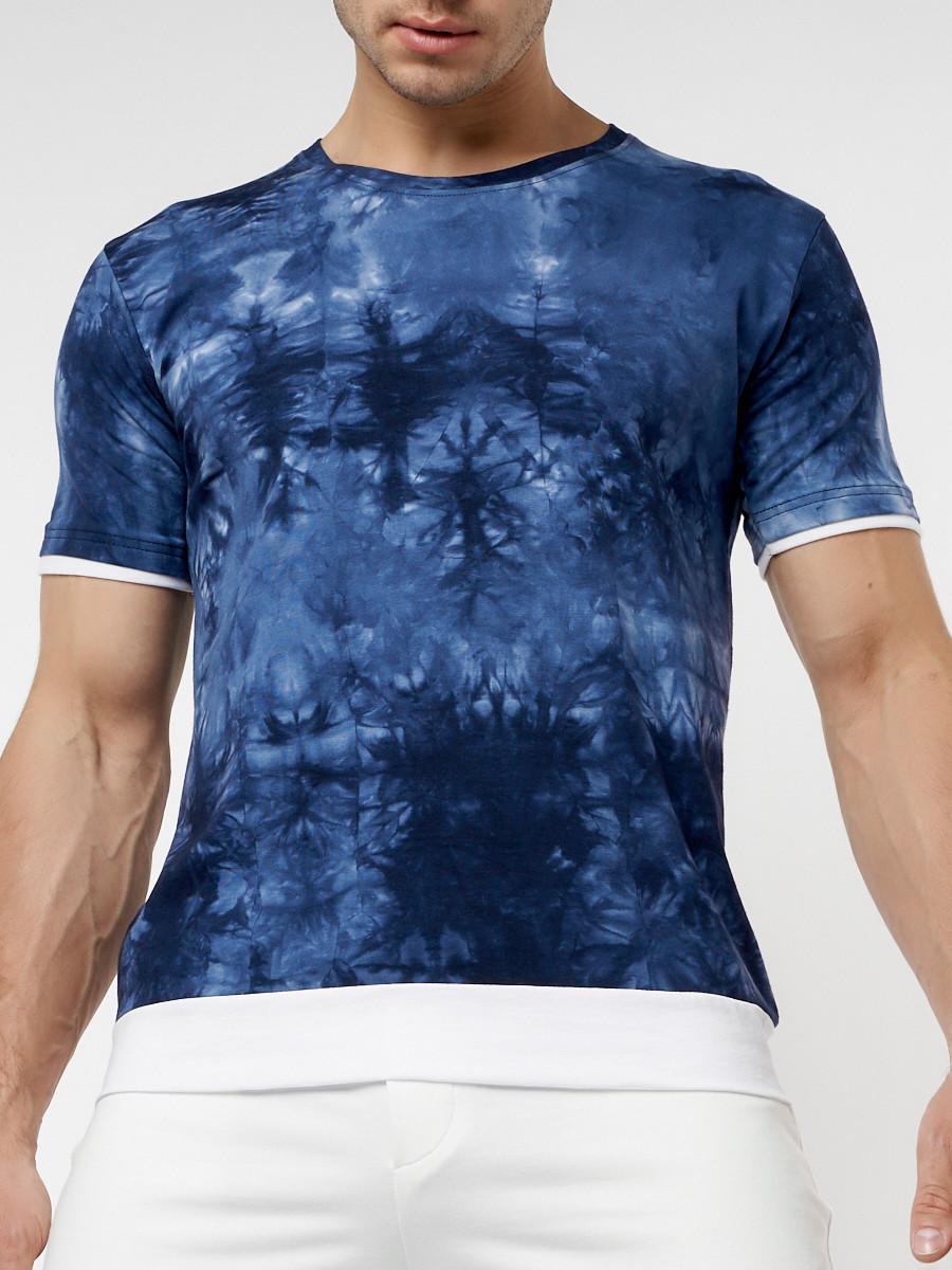 Купить оптом Мужская футболка варенка темно-синего цвета 221004TS в Екатеринбурге
