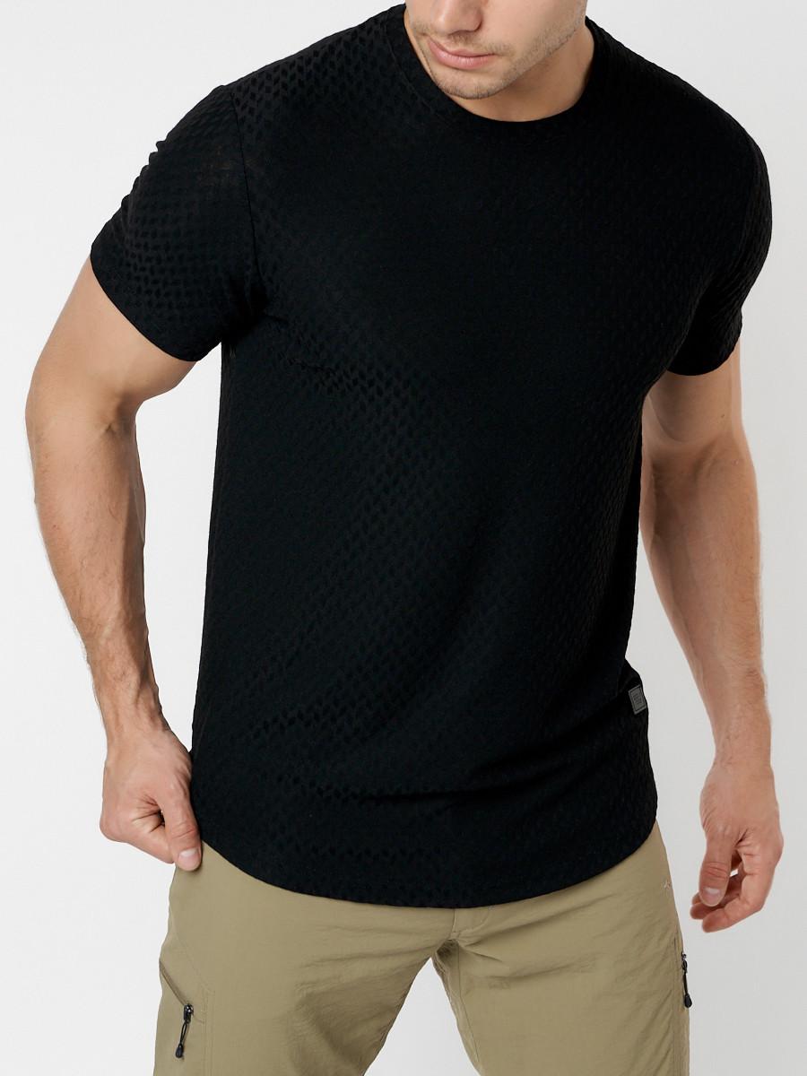 Купить оптом Однотонная футболка черного цвета 221063Ch в Екатеринбурге