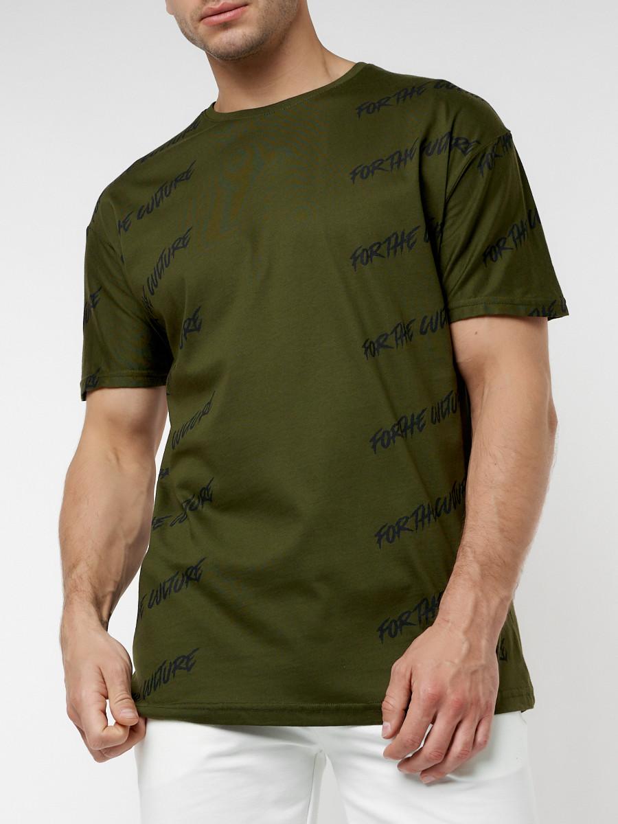 Купить оптом Мужская футболка с надписью хаки цвета 221085Kh в Екатеринбурге