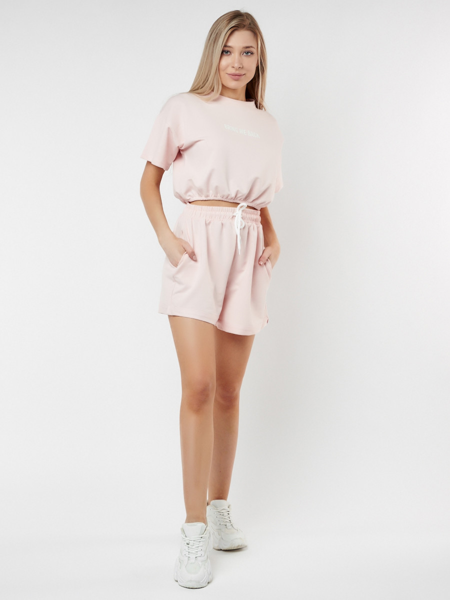 Купить оптом Костюм шорты и топ розового цвета 22109R в Казани