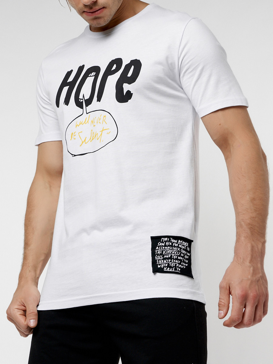 Купить оптом Мужская футболка с надписью белого цвета 221109Bl