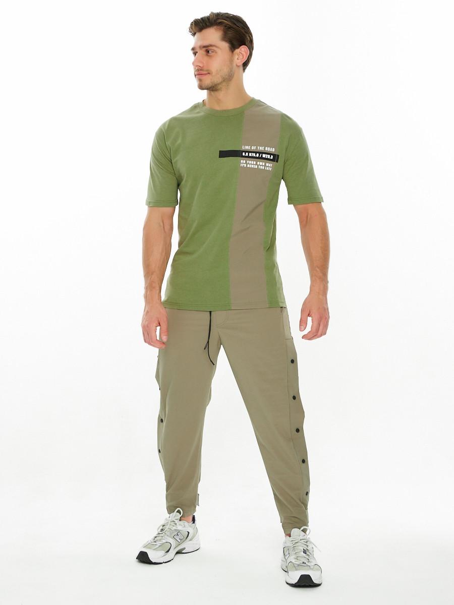 Купить оптом Костюм штаны с футболкой хаки цвета 221117Kh