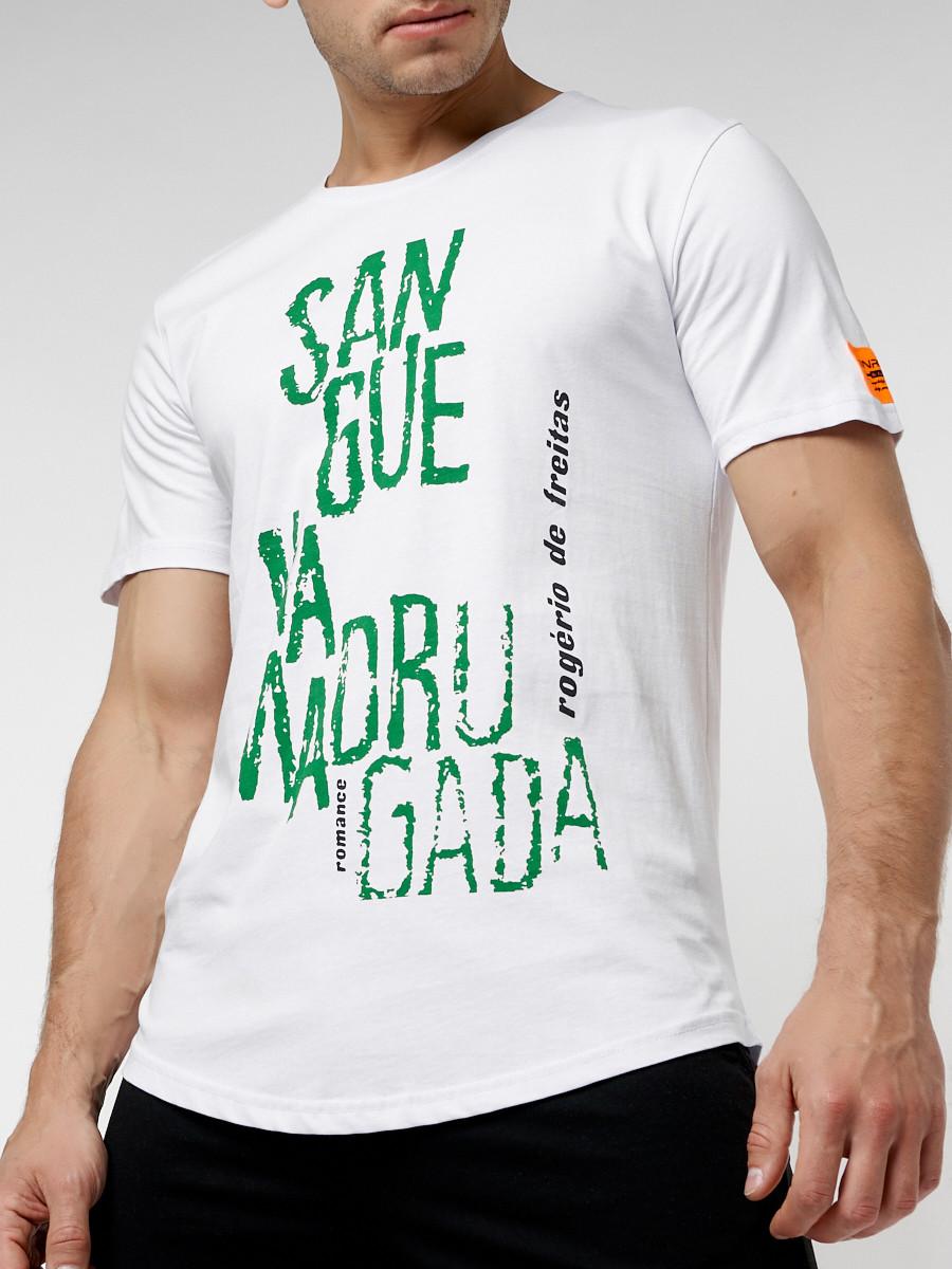 Купить оптом Мужская футболка с надписью белого цвета 221146Bl в Екатеринбурге