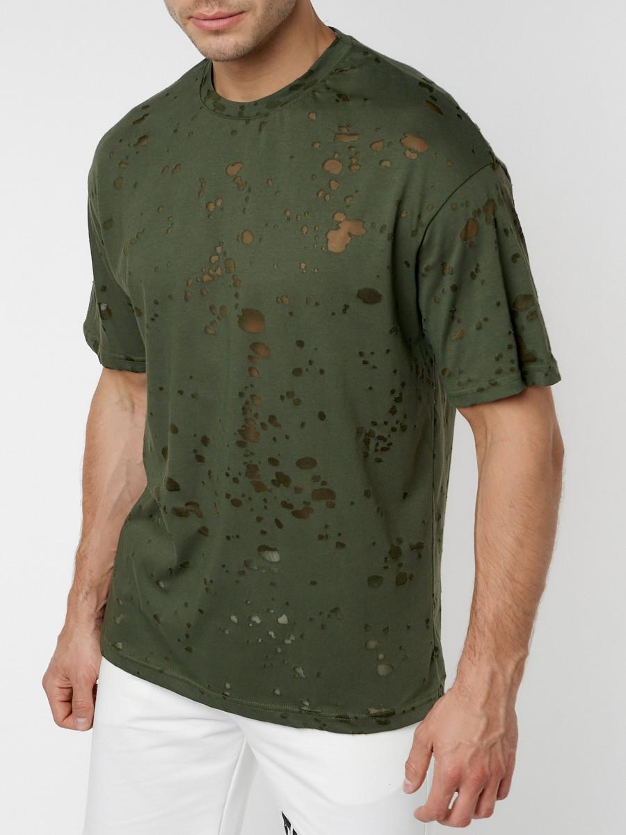 Купить оптом Однотонная футболка цвета хаки 221404Kh в Екатеринбурге