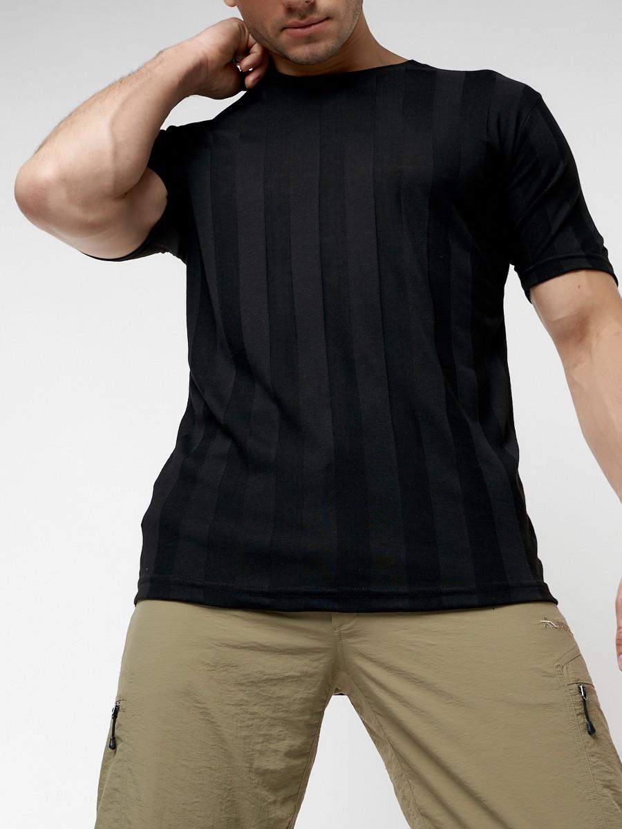 Купить оптом Однотонная футболка черного цвета 221411Ch в Екатеринбурге