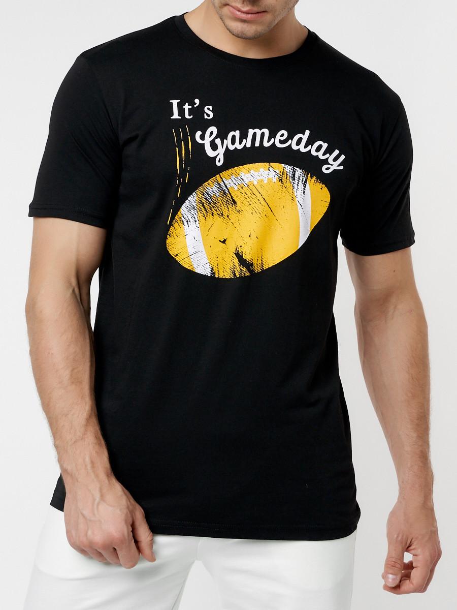 Купить оптом Мужские футболки с принтом желтого цвета 221414J