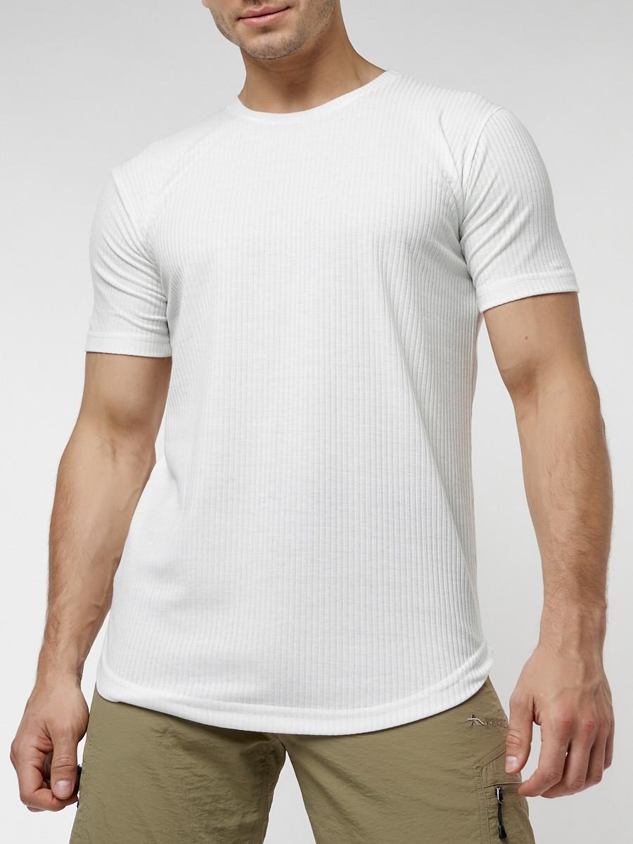 Купить оптом Мужская футболка однотонная белого цвета 221487Bl в Екатеринбурге