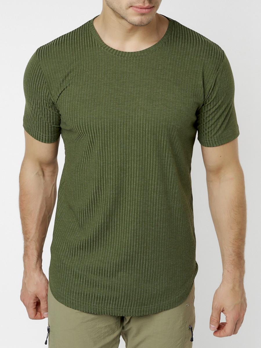Купить оптом Мужская футболка однотонная хаки цвета 221487Kh в Екатеринбурге