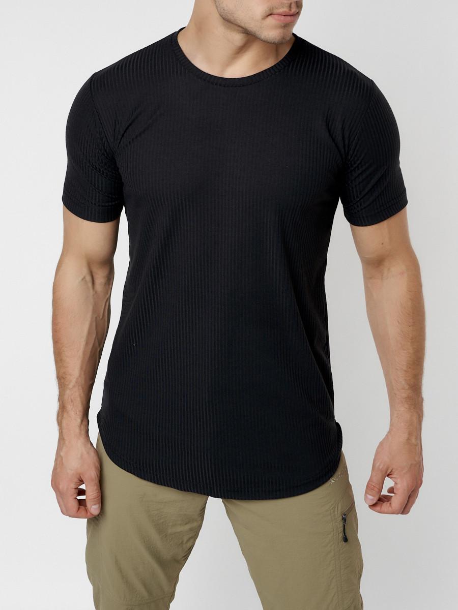 Купить оптом Мужская футболка однотонная черного цвета 221487Ch в Екатеринбурге