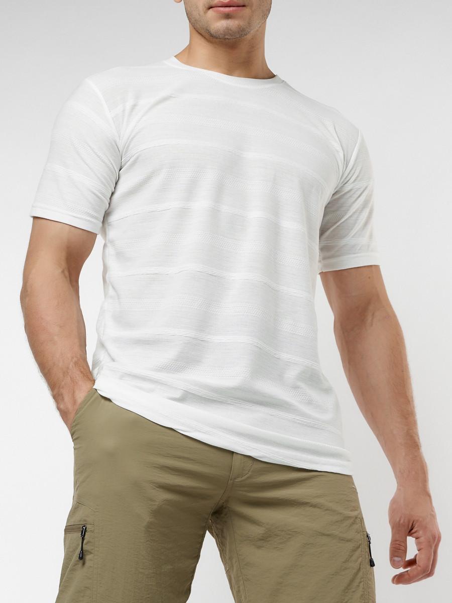 Купить оптом Мужская футболка однотонная белого цвета 221488Bl в Екатеринбурге