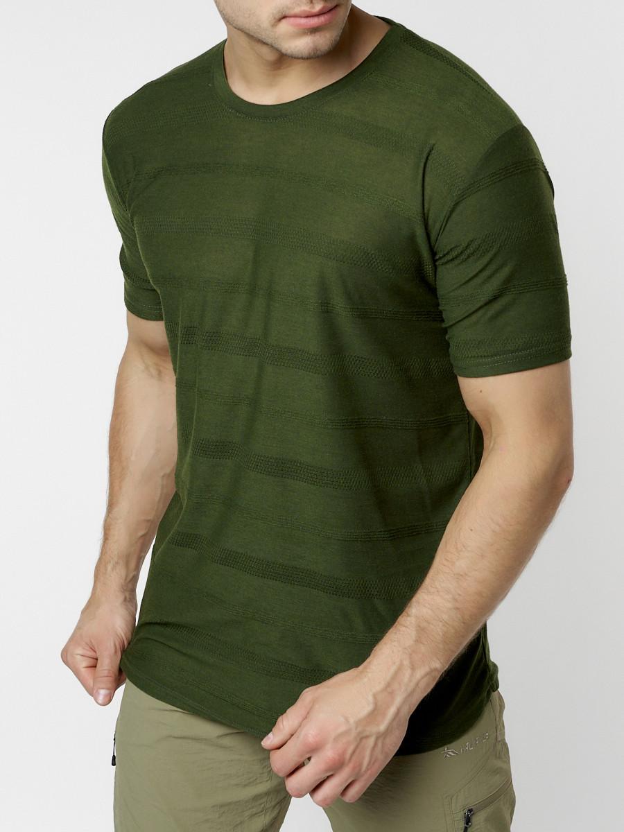 Купить оптом Мужская футболка однотонная хаки цвета 221488Kh в Екатеринбурге