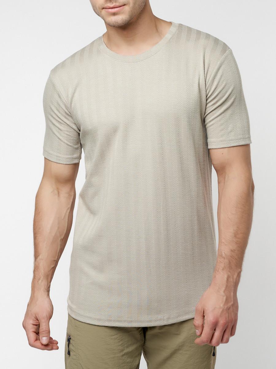 Купить оптом Мужская футболка в сетку бежевого цвета 221490B в Екатеринбурге