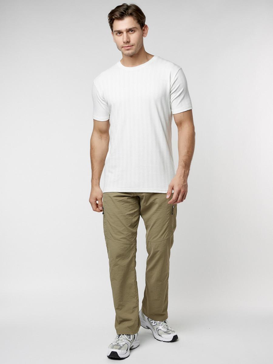 Купить оптом Мужская футболка в сетку белого цвета 221490Bl в Екатеринбурге
