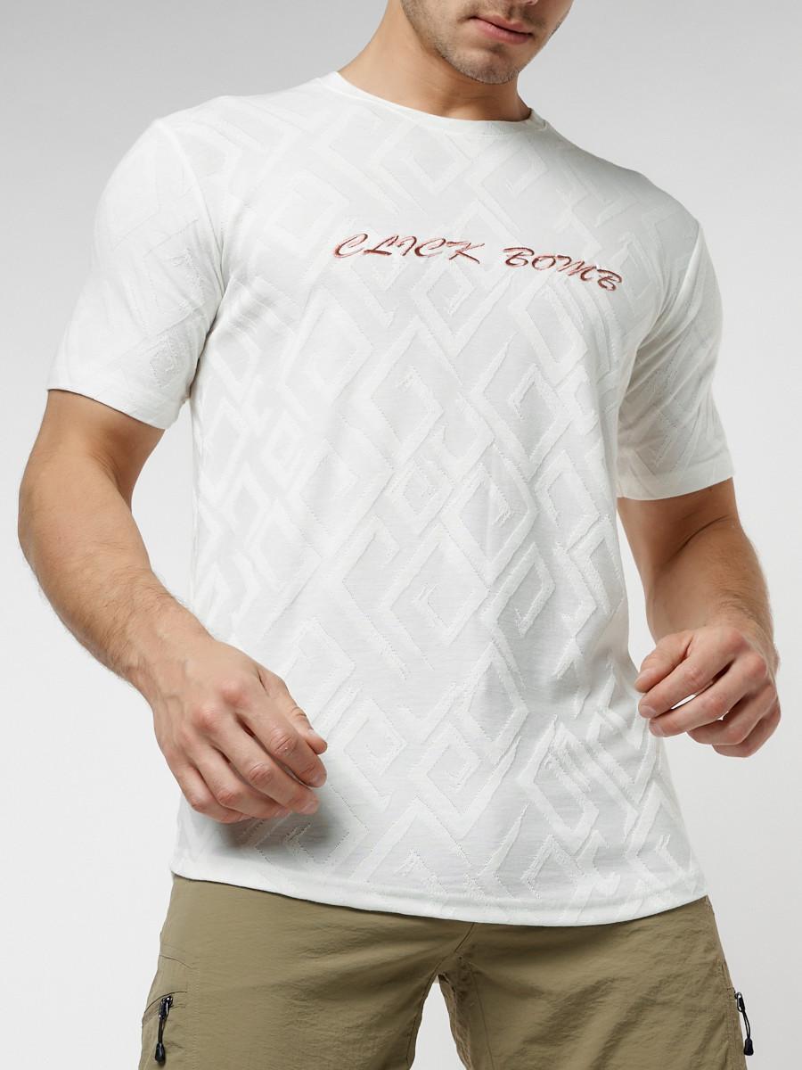 Купить оптом Мужская футболка с надписью белого цвета 222006Bl в Екатеринбурге