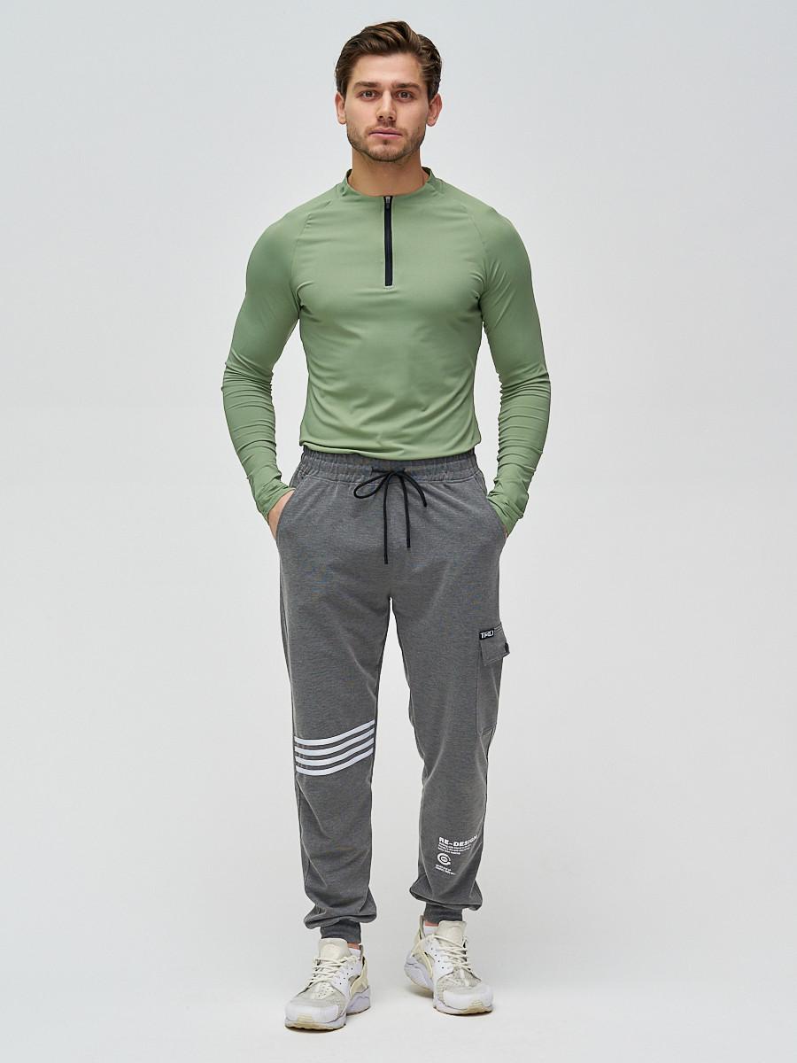 Купить оптом Трикотажные брюки мужские темно-серого цвета 2269TC