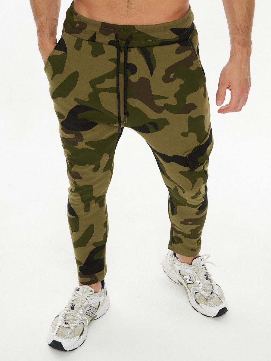 Купить оптом Трикотажные брюки зауженные камуфляжного цвета 227001Kf в Екатеринбурге