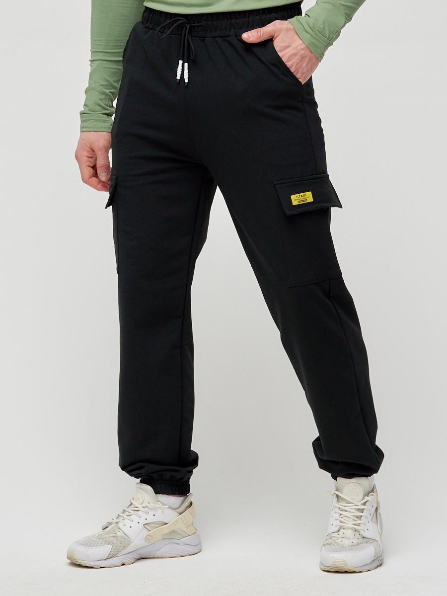 Купить оптом Трикотажные брюки мужские черного цвета 2286Ch