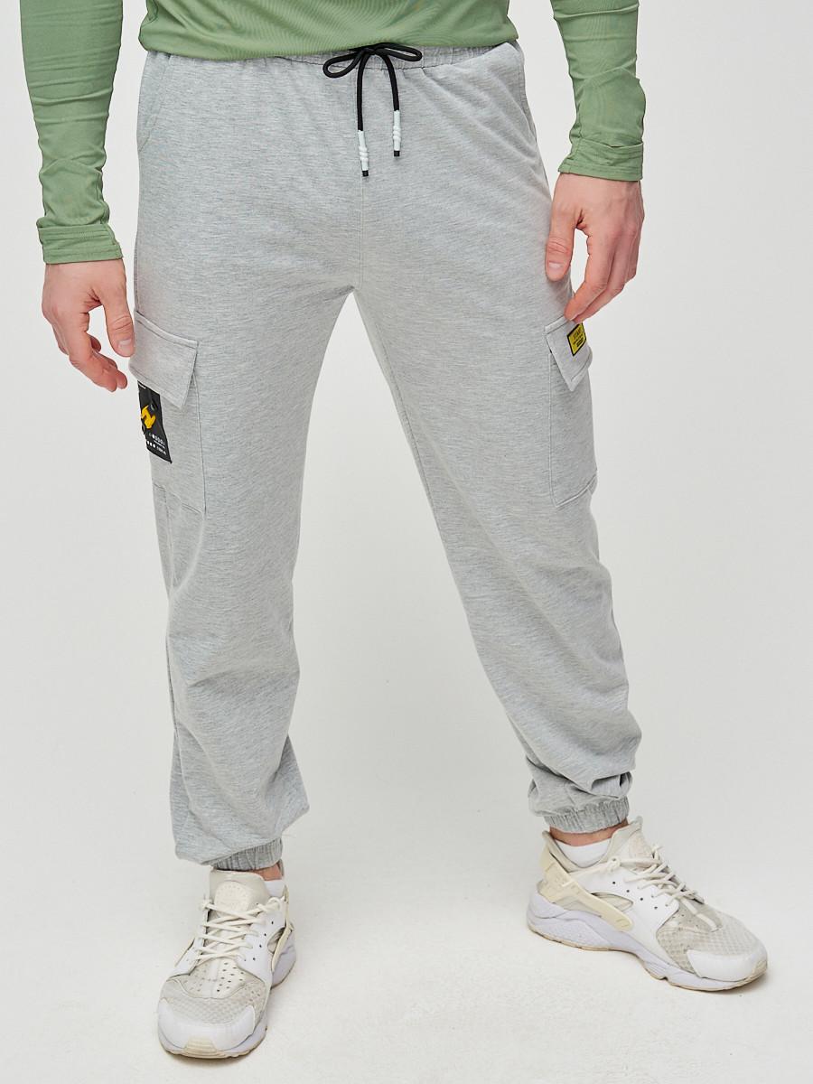 Купить оптом Штаны джоггеры мужские серого цвета 2286Sr в Екатеринбурге