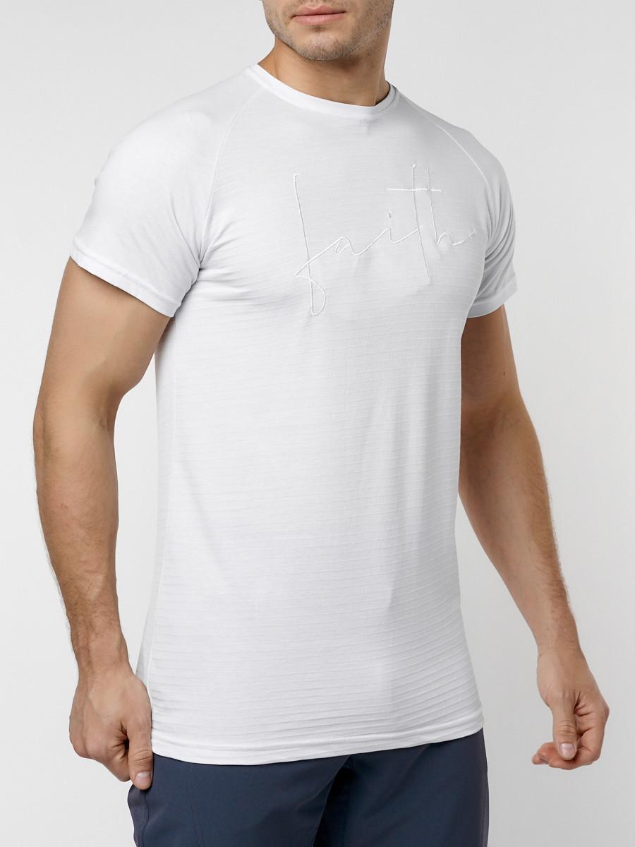 Купить оптом Футболка мужская белого цвета 229003Bl в Екатеринбурге