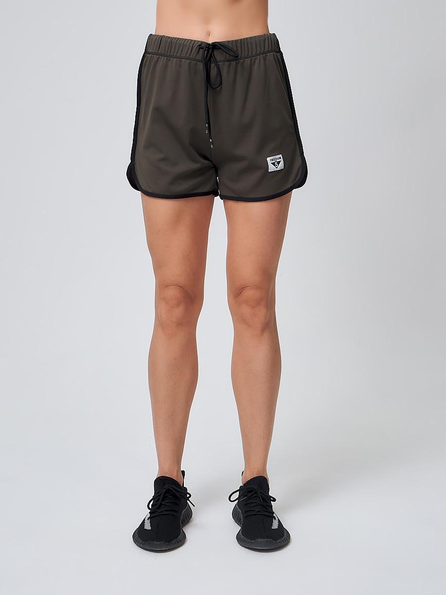 Купить оптом Спортивные женские шорты big size цвета хаки 212311Kh
