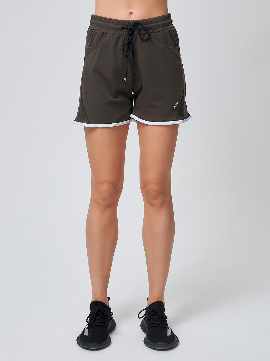 Купить оптом Спортивные женские шорты big size цвета хаки 212312Kh