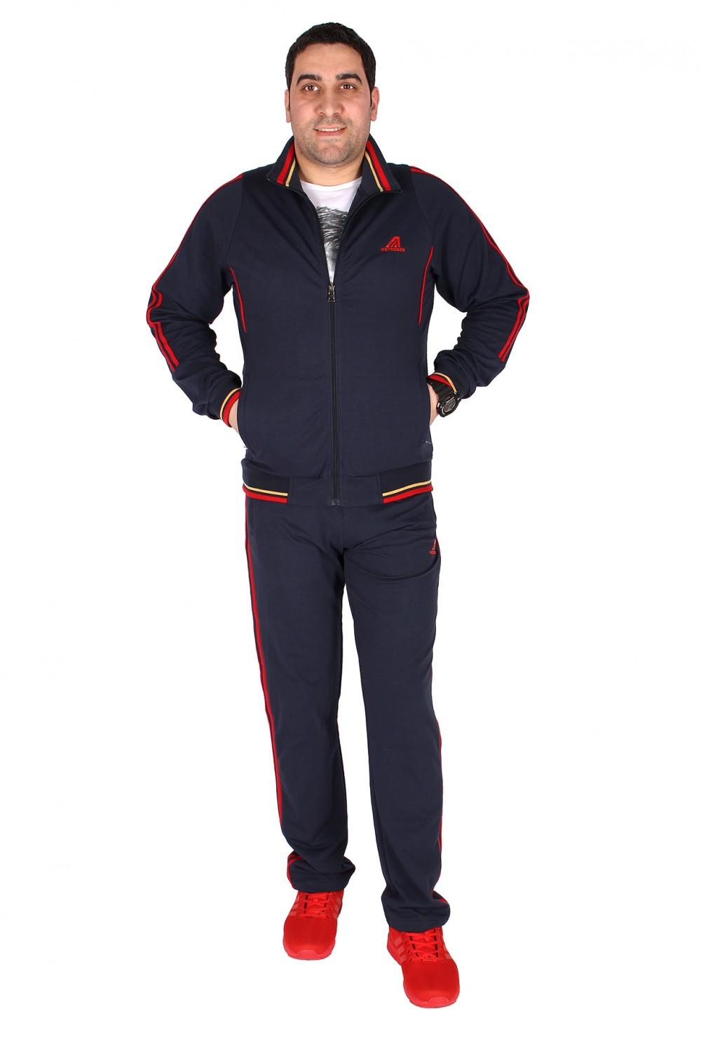 Купить оптом Спортивный трикотажный костюм мужской темно-синего цвета 231558TS