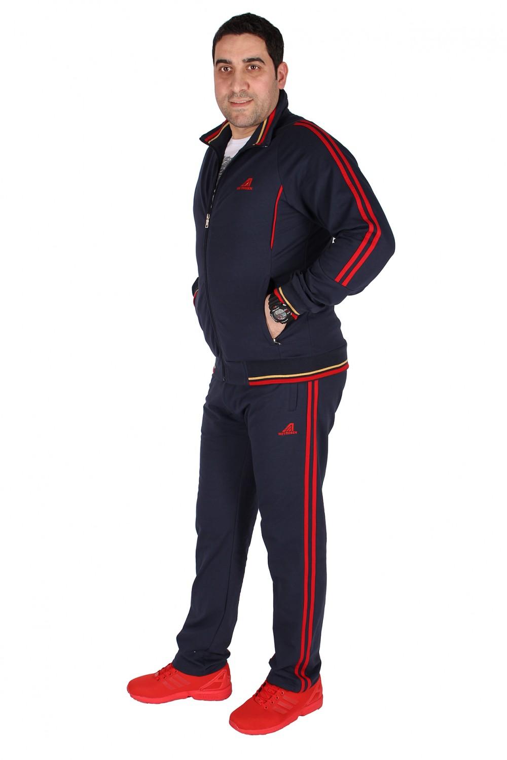 Купить оптом Спортивный трикотажный костюм мужской темно-синего цвета 231558TS в Нижнем Новгороде