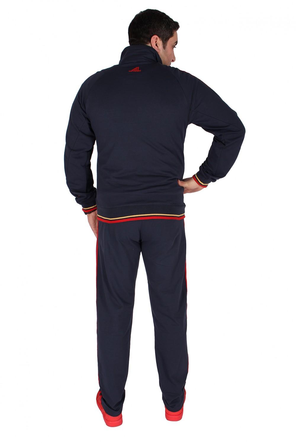 Купить оптом Спортивный трикотажный костюм мужской темно-синего цвета 231558TS в Уфе