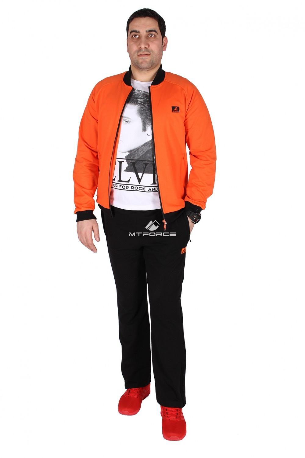 Купить оптом Спортивный трикотажный костюм мужской оранжевого цвета 23178O в Новосибирске