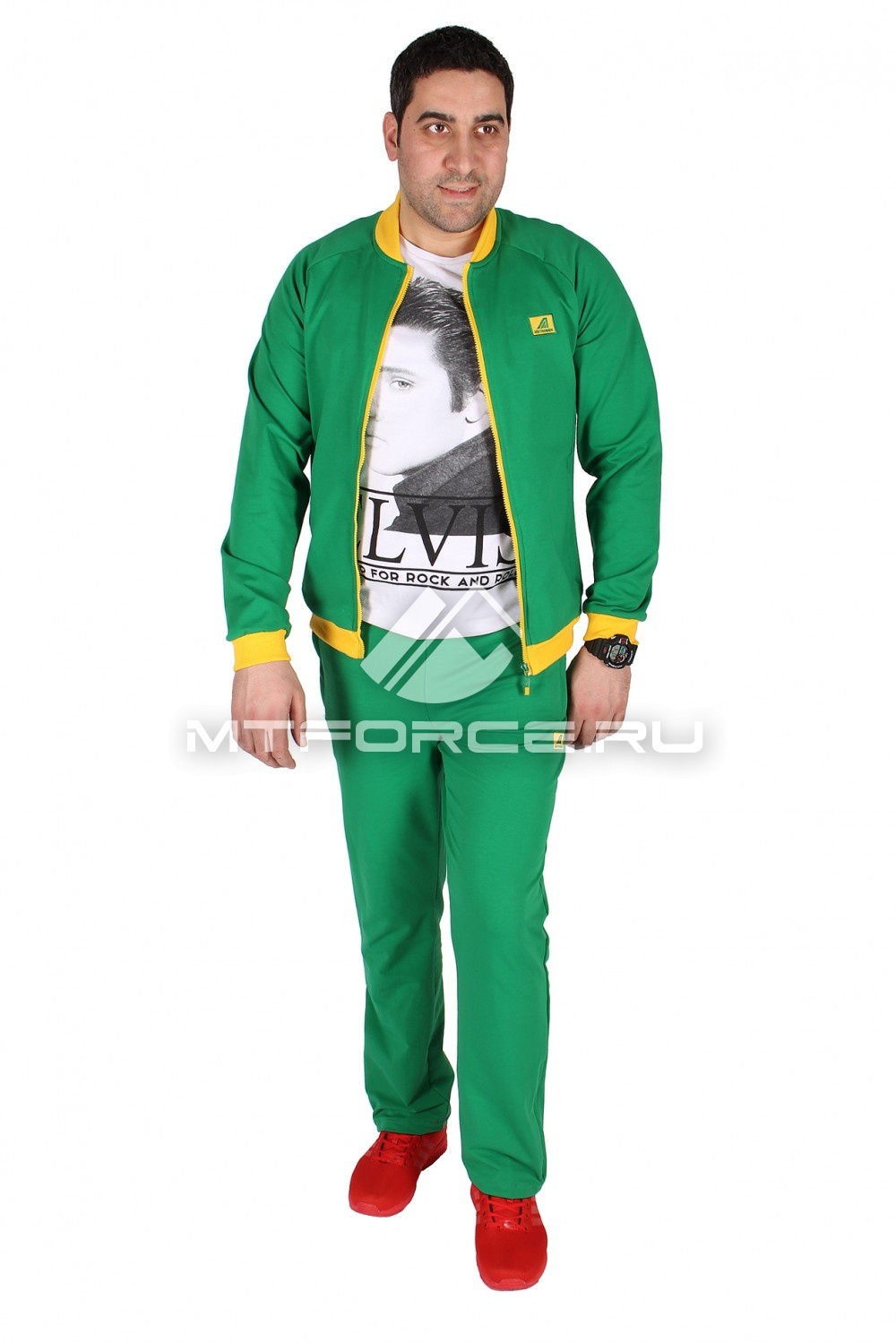 Купить                                  оптом Спортивный трикотажный костюм мужской зеленого цвета 23178Z