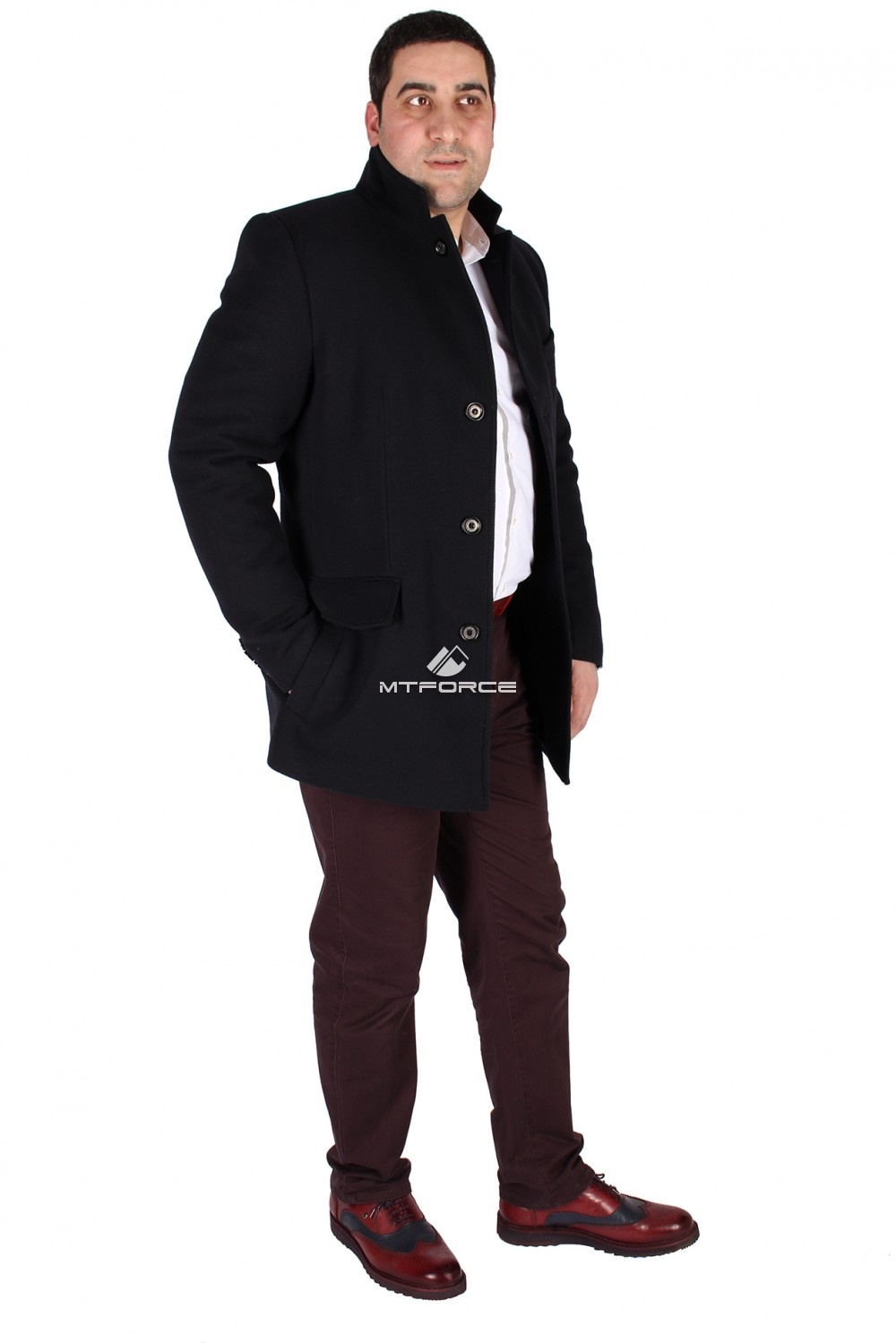 Купить                                  оптом Пальто мужское темно-синего цвета 231TS