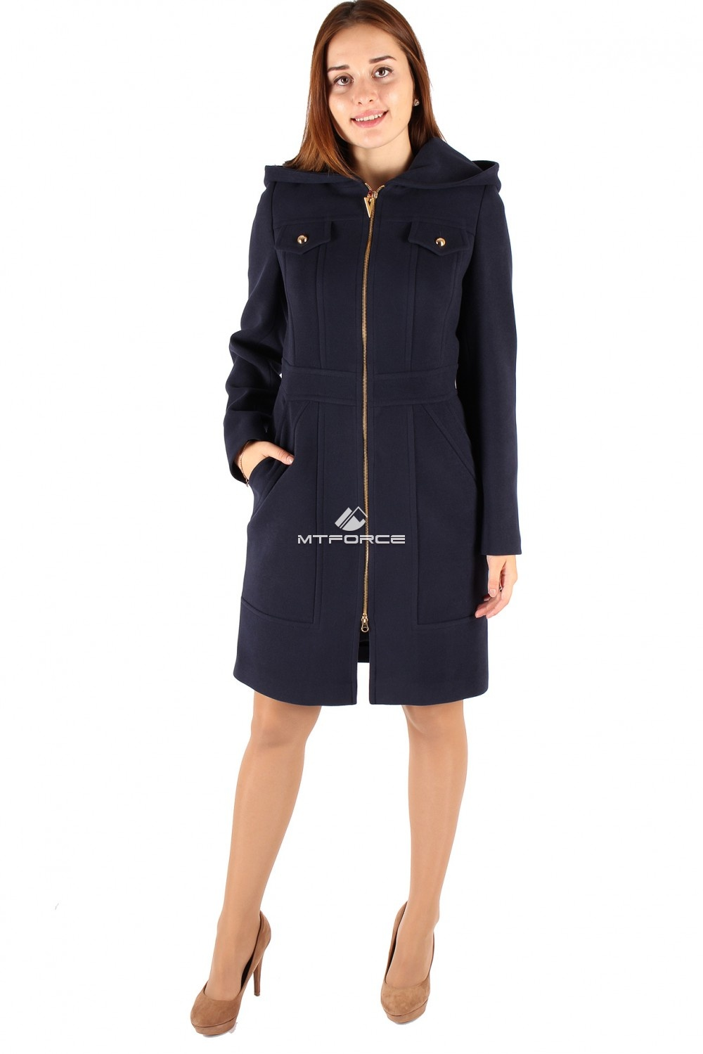 Купить оптом Пальто женское темно-синего цвета 270TS