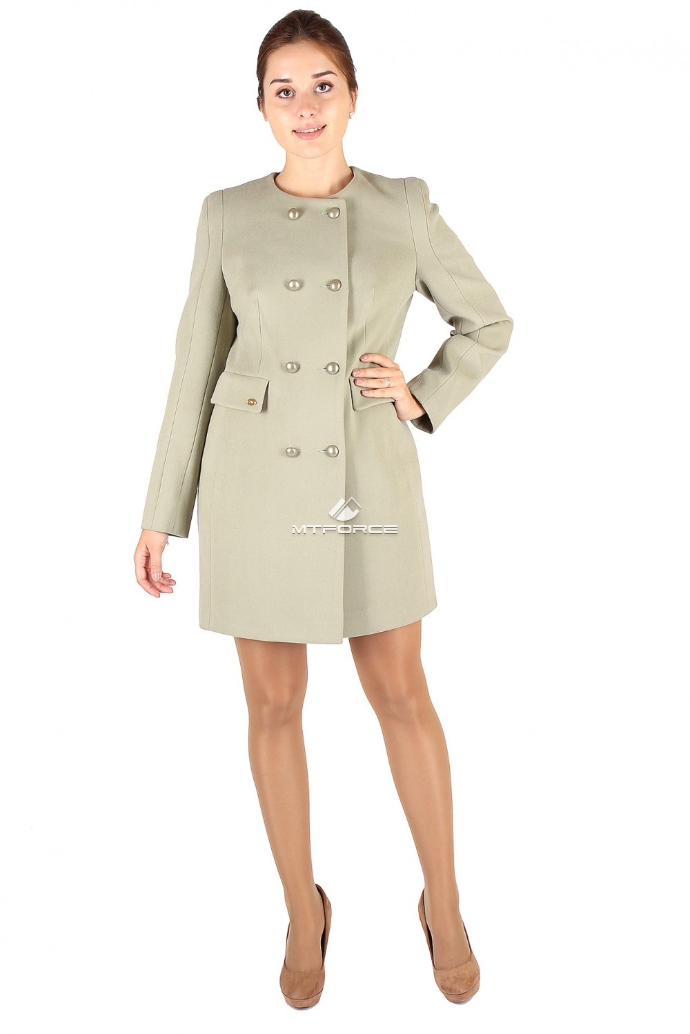 Купить оптом Пальто женское фисташкового цвета 277-Fs в Новосибирске