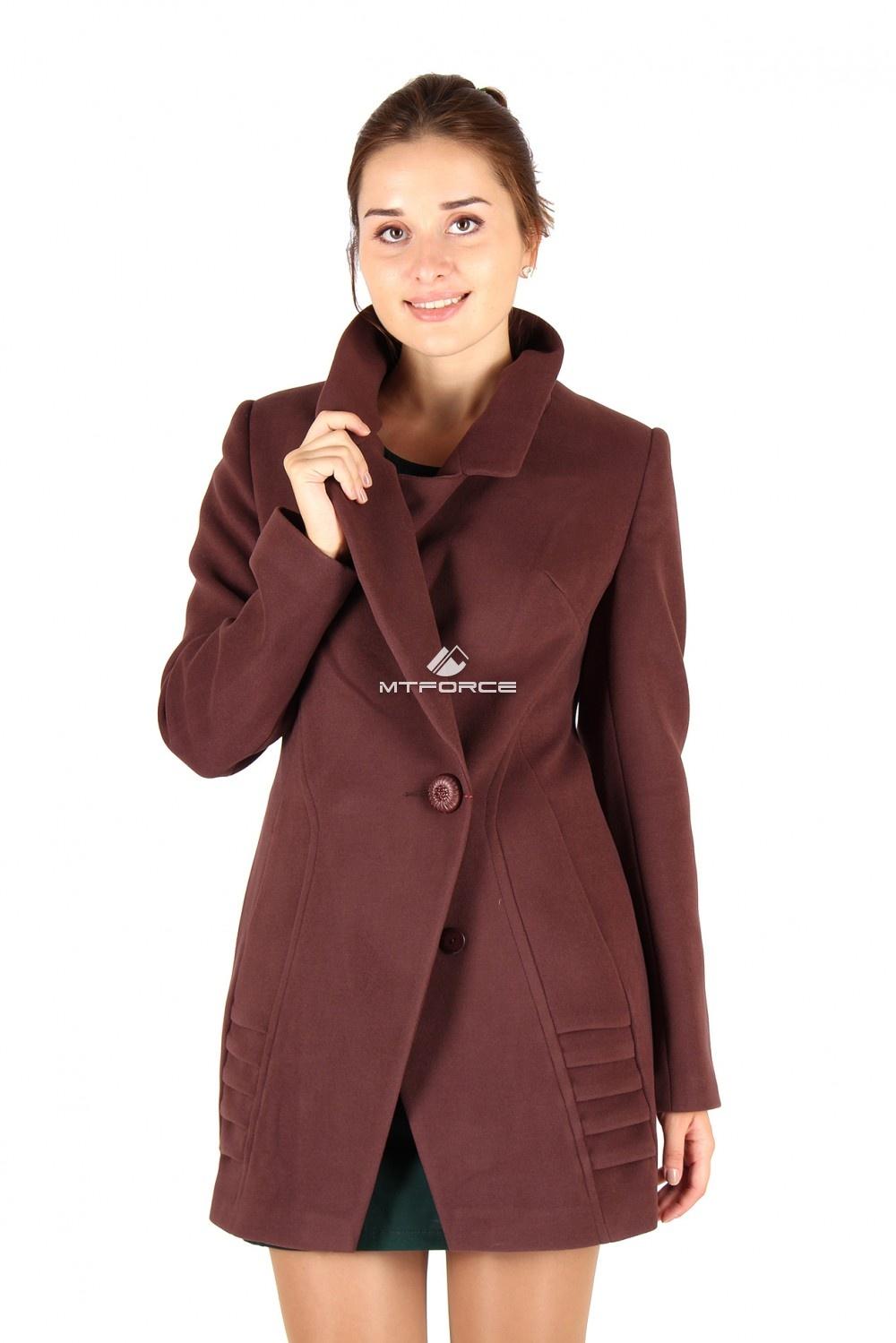 Купить оптом Пальто женское коричневого цвета 286K в Новосибирске