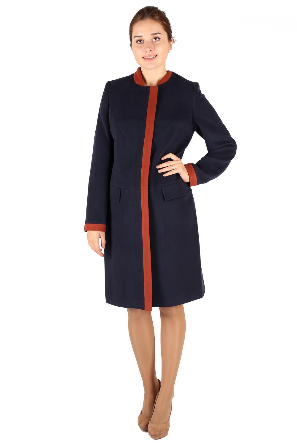 Купить оптом Пальто женское темно-синего цвета 288TS в  Красноярске