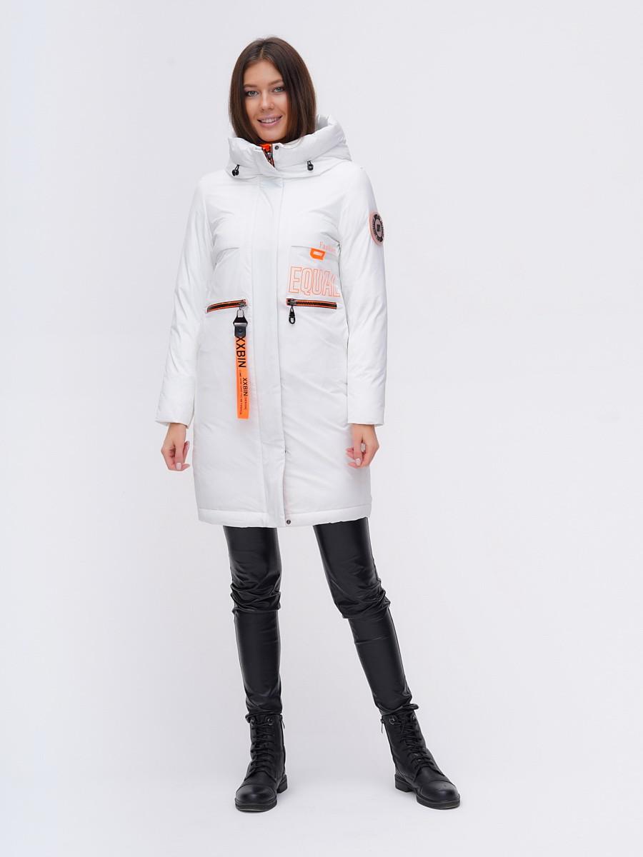 Купить оптом Куртка удлиненная TRENDS SPORT белого цвета 22297Bl