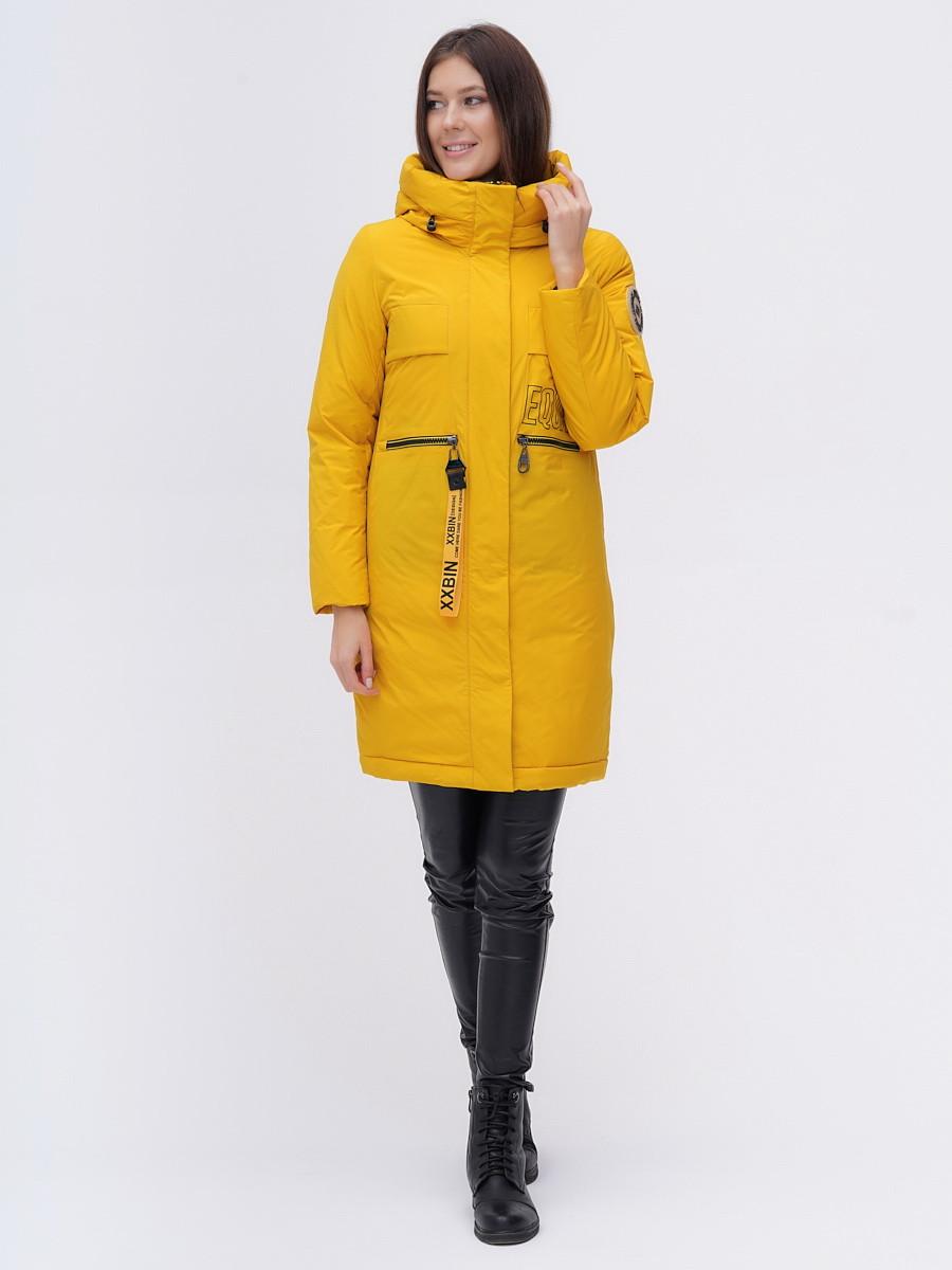 Купить оптом Куртка удлиненная  TRENDS SPORT горчичного цвета 22297G