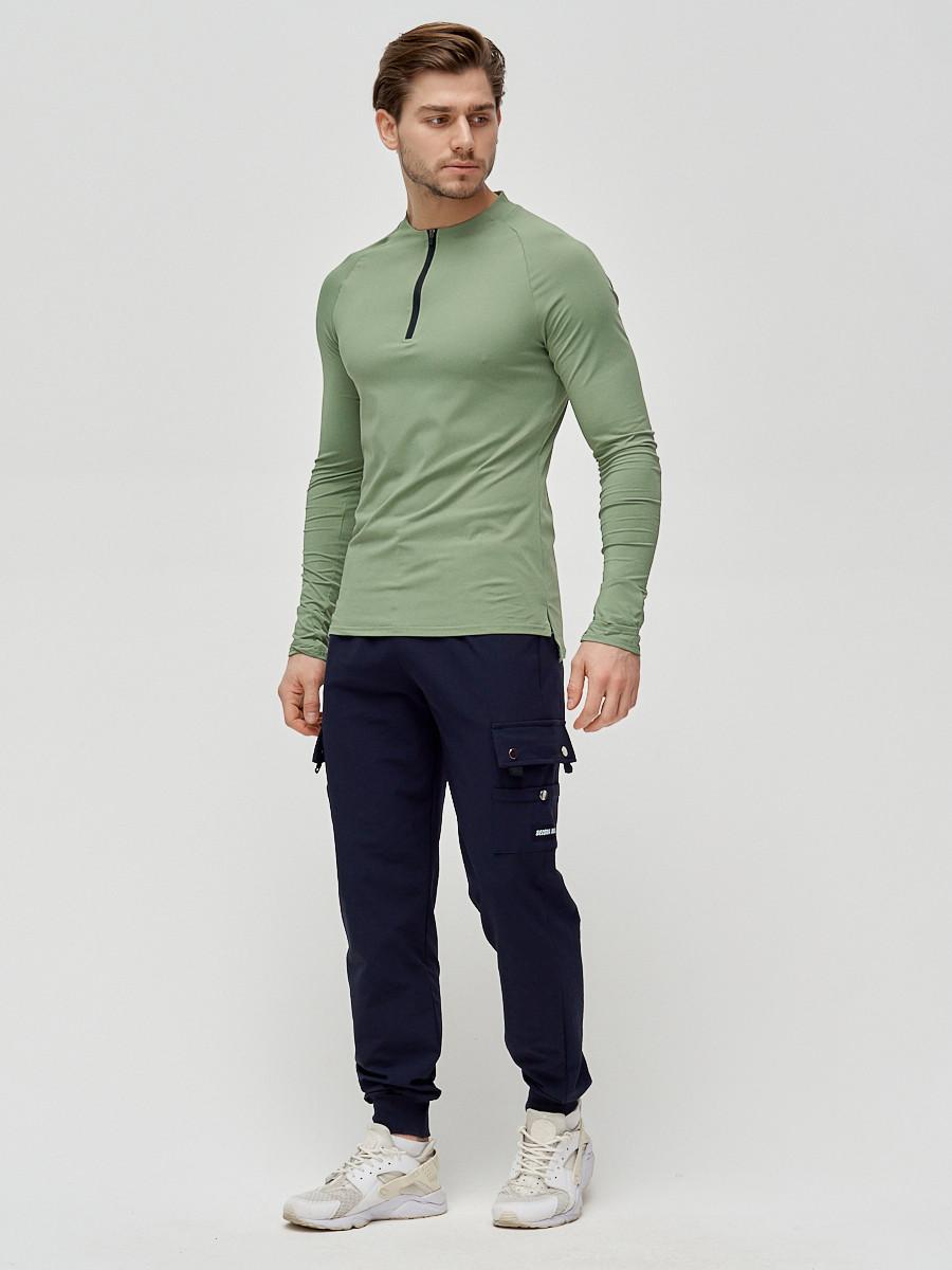 Купить оптом Брюки спортивные мужские темно-синего цвета 3002TS