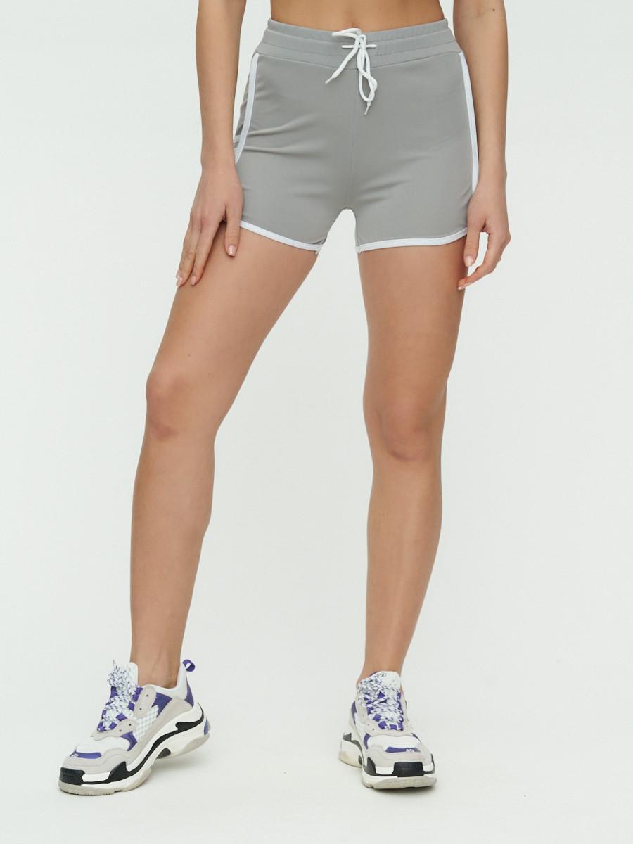 Купить оптом Спортивные шорты женские серого цвета 3010Sr