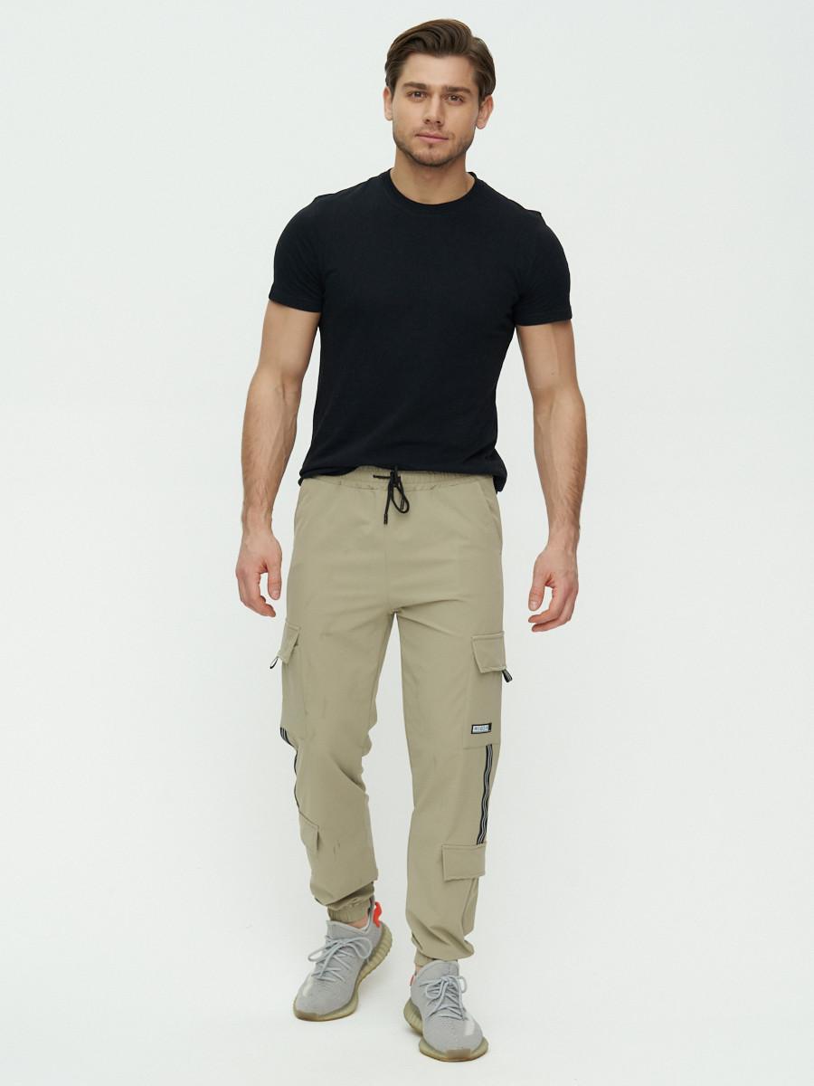 Купить оптом Штаны джоггеры мужские бежевого цвета 3011B