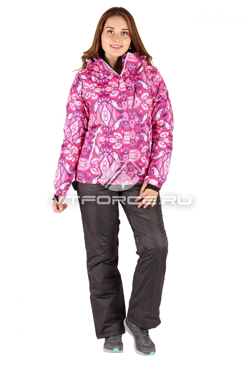 Купить оптом Костюм горнолыжный женский розового цвета 0305R