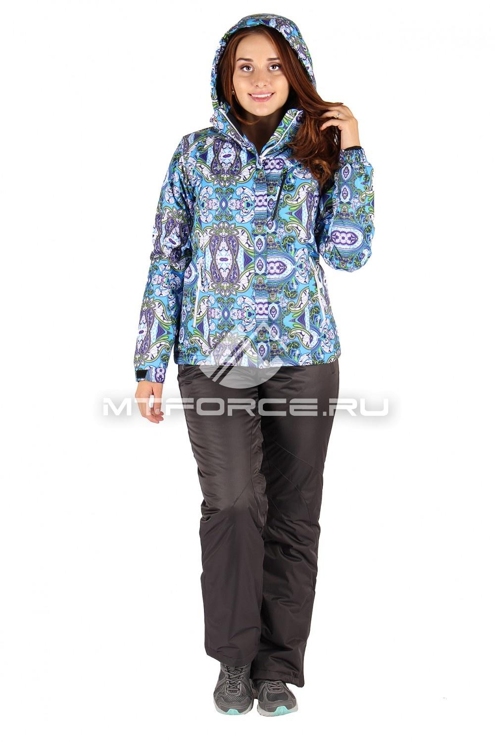 Купить                                  оптом Костюм горнолыжный женский голубого цвета 0305Gl