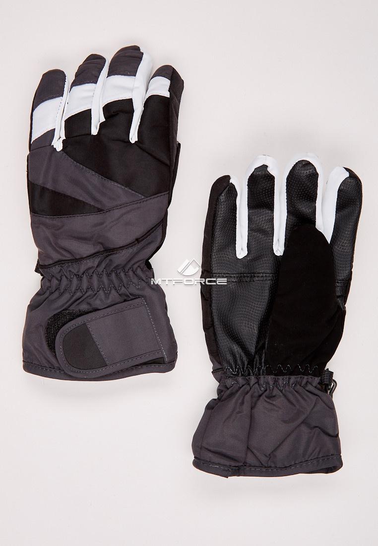 Перчатки подростковые горнолыжные темно-серого цвета 323TC