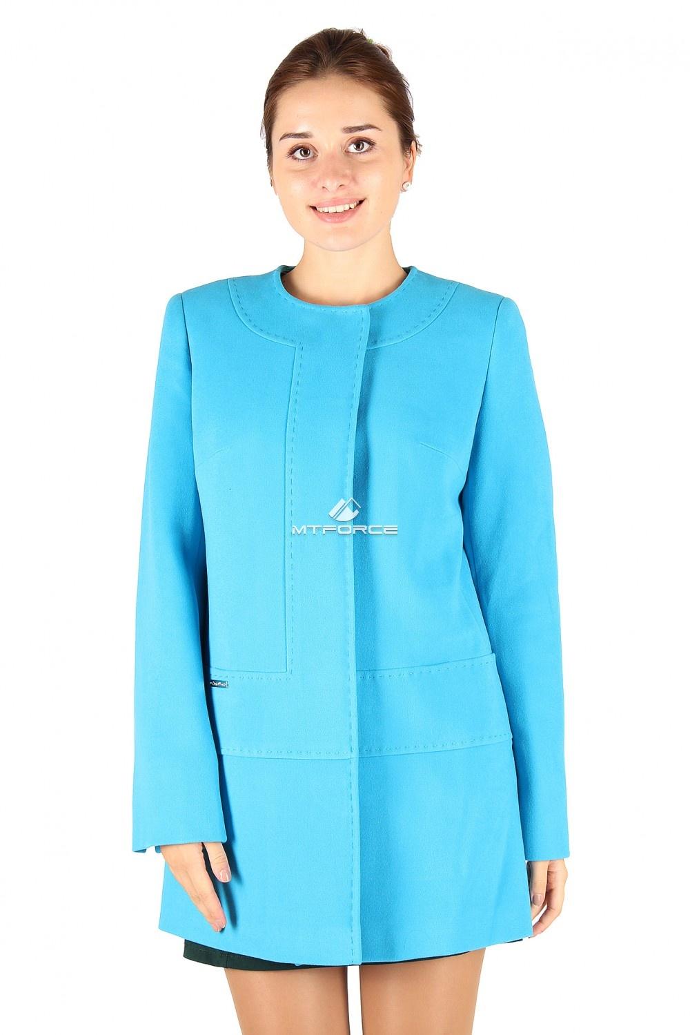 Купить оптом Пальто женское голубого цвета 332Gl в Новосибирске