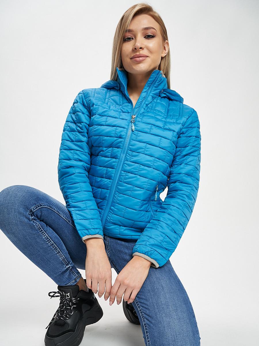 Купить оптом Стеганная куртка синего цвета 33315S в Екатеринбурге