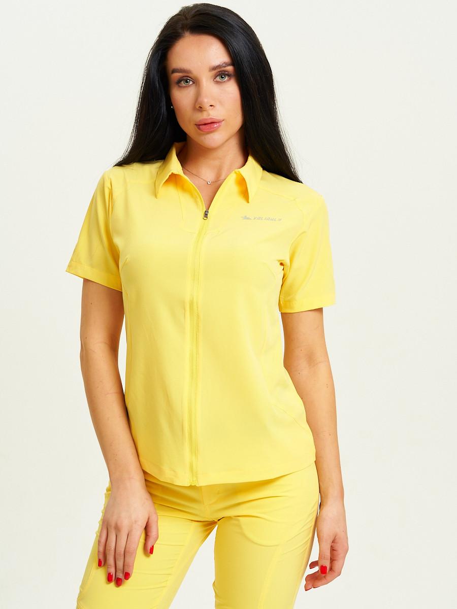 Купить оптом Спортивная футболка поло женская желтого цвета 33412J