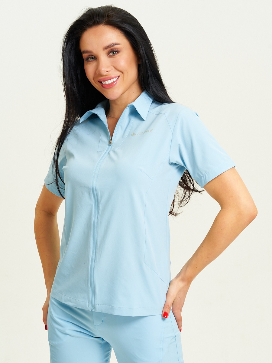 Купить оптом Спортивная футболка поло женская голубого цвета 33412Gl в Екатеринбурге